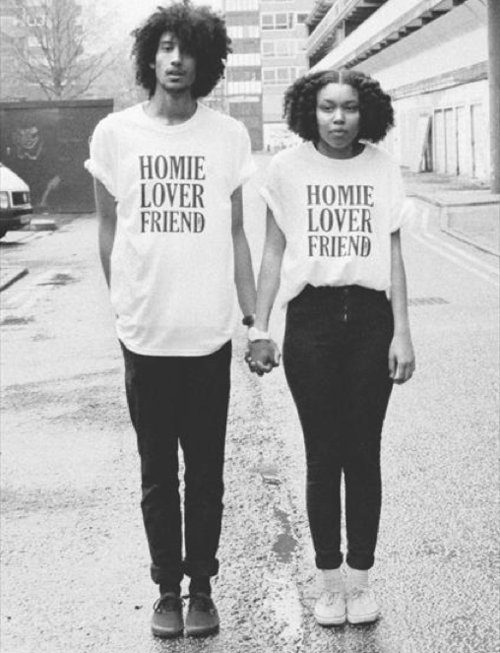 black and white, couple, friends, holding hands, homies, love, lovers, matching, romance, shirts, text