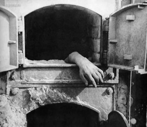 black and white, creepy, crematorium, hand, horror, vintage