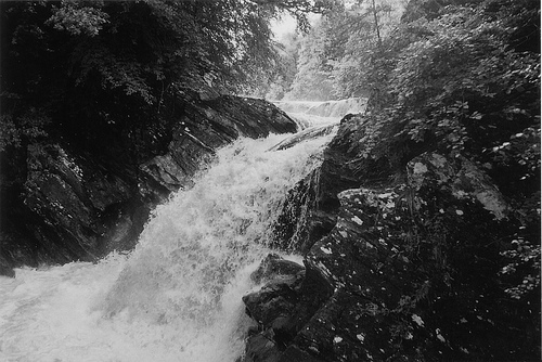 black and white, landscape, river, vintage, waterfall