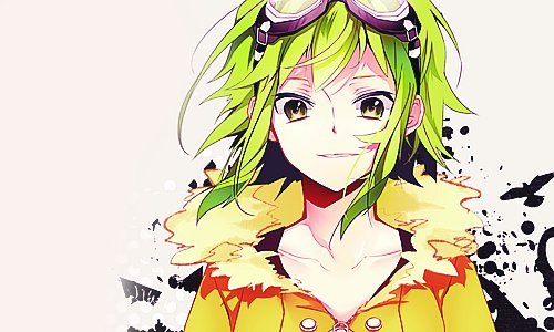 black, cute, eyes, girl, green, green hair, gumi, hair, jacket, megpoid, orange, smile, vocaloid, yellow