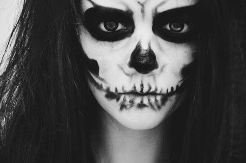 black, darkness, girl, looks like effy, skull