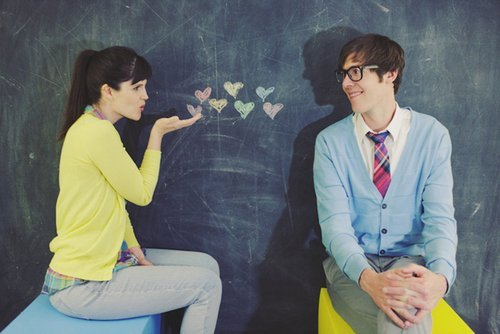 blackboard, couple, cute, heart, school