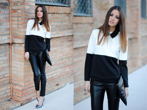 blogger, clutch, fashion, knits, knitwear, leather jeans, leather pant, ombre, style