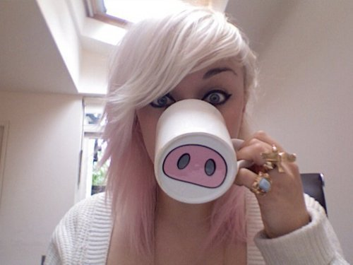 blonde, cup, cute, girl, pig