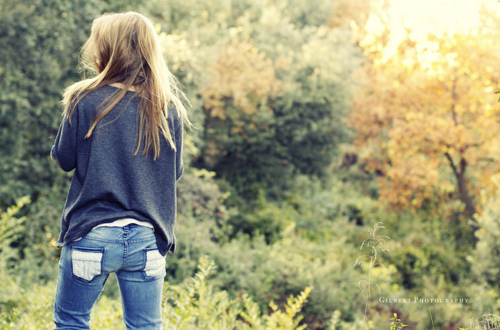 blonde, forest, girl, green, hair, jeans, nature, photography, wood