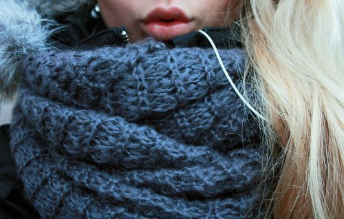 blonde, girl, mouth, scarf, winter