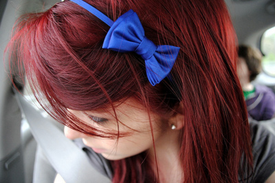 blue, bow, fashion, headband, red, red head