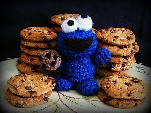 blue, chocolate chips, cookie monster, cookies, eyes - image #354064 ...