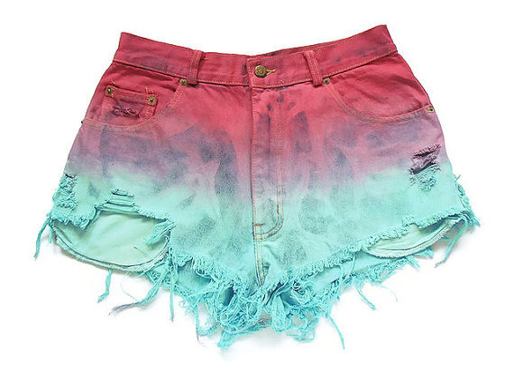 blue, cool, destroyed shorts, dip dyed, dyed shorts