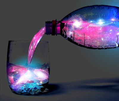 blue, cool, drink, galaxy, glass, pink, universe, water