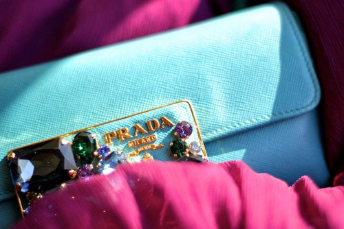 blue, couture, fashion, glam, glamour, jewels, photography, pink, prada, pretty, teal