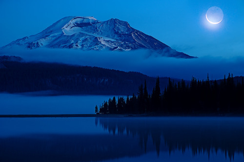 blue, dark, forest, lake, landscape