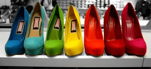 blue, green, high heels, pink, red
