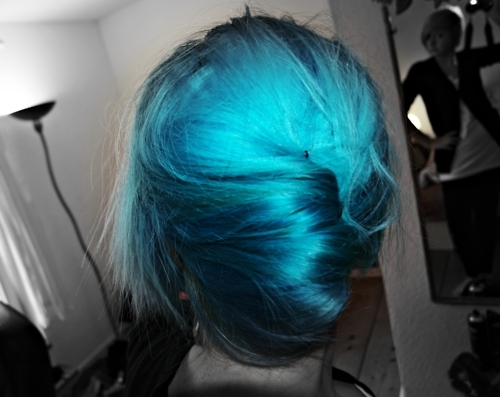 blue hair, cute, girl, scene girl, scene hair