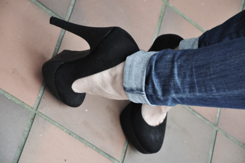 blue jeans, fashion, heels, high, high heels