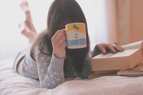 book, books, brown hair, brunette, cup, cute, girl, hair, heart, legs, morning, nice, photography, sweet