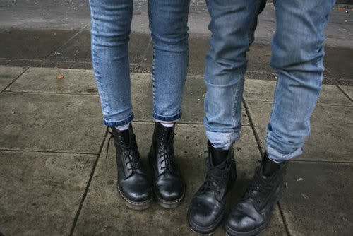 boots, combat boots, cool, couple, doc martens, docs, fashion, indie, jeans, love, matching, outfit, shoes, street style