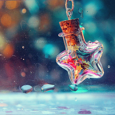 bottle, charm, confetti, star, stars, water drops, with stars