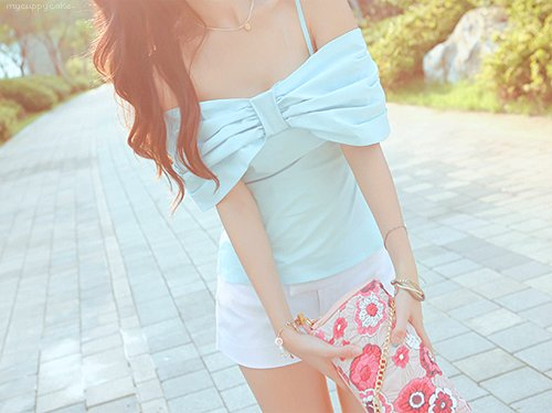 bow, cute, fashion, female, korean, outdoors