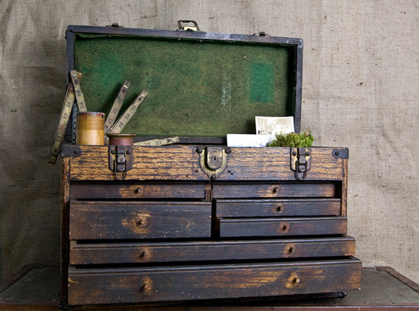box, industrial vintage, storage, vintage, wooden toolbox