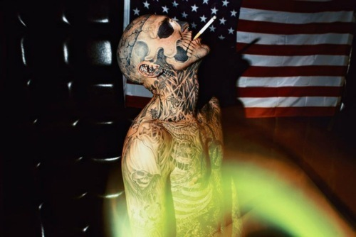 boy, cigarette, photography, rick genest, smoke, tattoo, zombie, zombie boy