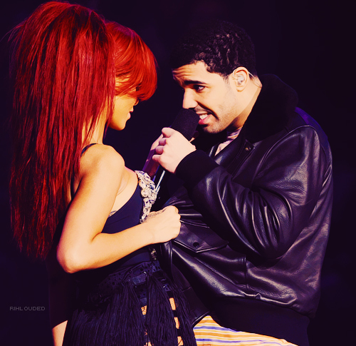 boy, cockiness, dance, drake, girl, hair, microphone, red, rihanna, sexy