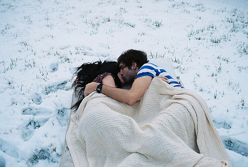 boy, girl, kiss, kissing, love, lovely, winter, snow