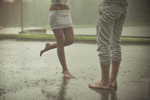 boy, girl, rain