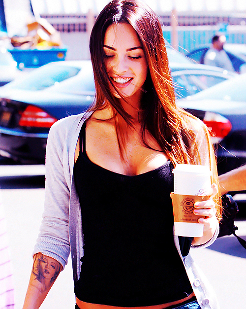 brunette, candid, gorgeous, hair, hot, lips, megan fox, sexy, starbucks, stunning, tattoo