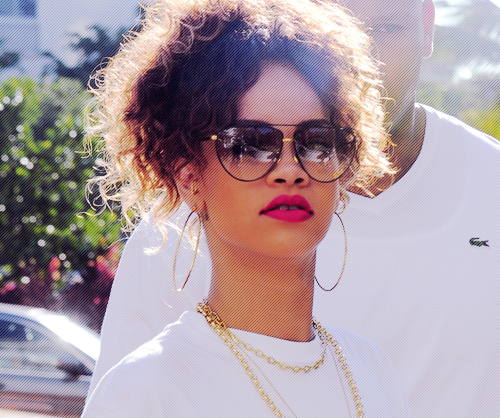 brunette, diva, ear rings, earrings, fashion, glasses, gold, golden girl, hair, huge, lacoste, lips, model, necklace, princess, red, red lips, rihanna, riri, ririh, street, sunglasses, vintage, white