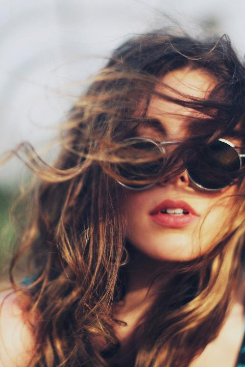 brunette, glasses, lips, ombre hair