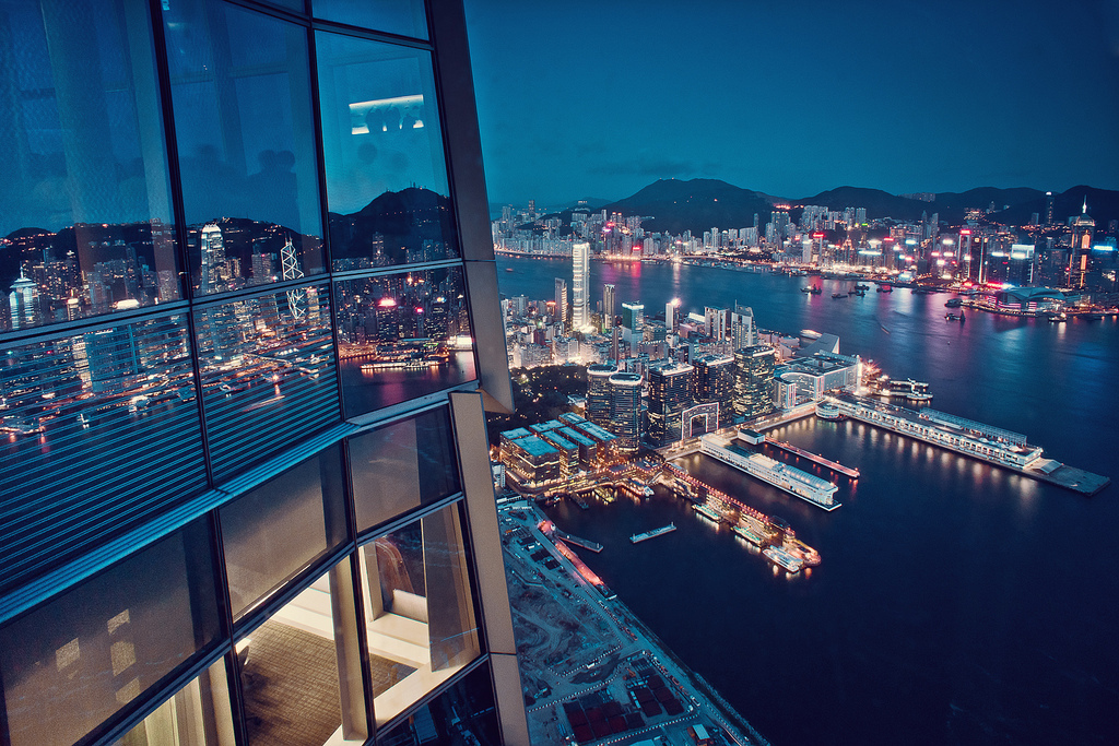 buildings, city, cityscape, hong kong, night