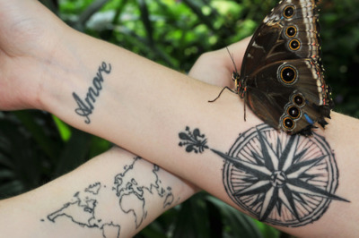 butterfly, compass, tattoo, world map, wrists