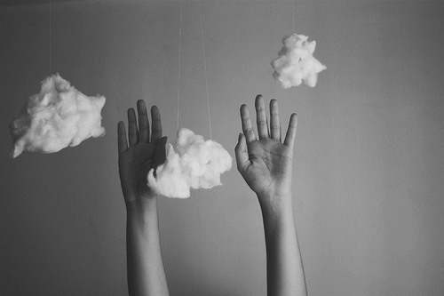 b/w, cloud, clouds, cute, hands