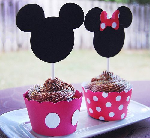cake, chocolate, cup cake, desert, disney, dots, food, micky mouse, muffin, red, sweet, sweets
