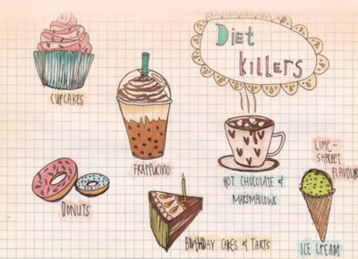 cakes, chocolate quente, cupcakes, cute, desenhos, diet killers, donuts, franppuchino, ice cream, love