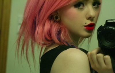 camera, canon, colorful, cute, girl, piercing, pink hair, red lips