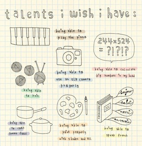 camera, cooking, food, french, knit, numbers, piano, talents