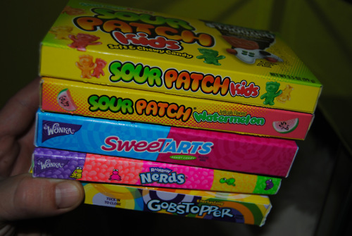 candy, gobstoppers, nerds, sour patch kids, sweet tarts