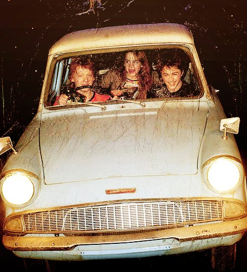 car, chamber of secrets, daniel radcliffe, emma watson, film
