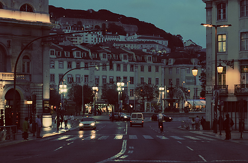 cars, city, lights, lisbon, night, portugal, street