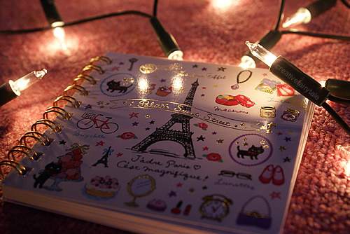 cat, cute, eiffel tower, fairy lights, notebook