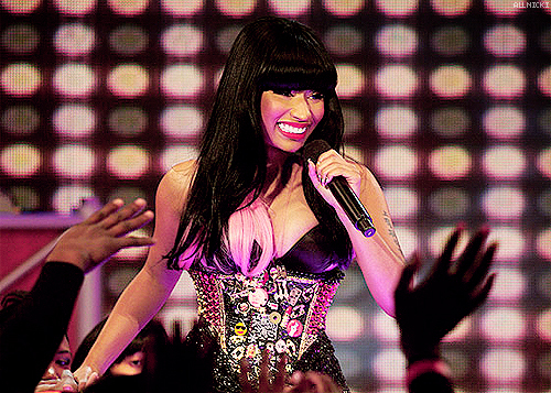celebrity, colorful, eyes, famous, girl, green, hair, knockout, lilwane, music video, nicki minaj, pretty, smile