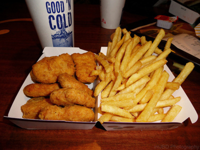 chicken, drink, fast food, food, fries