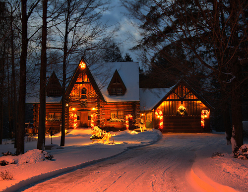 christmas, christmas light, house, snow, winter