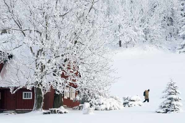 christmas, december, house, man, maountain, snow, trees, white, xmas