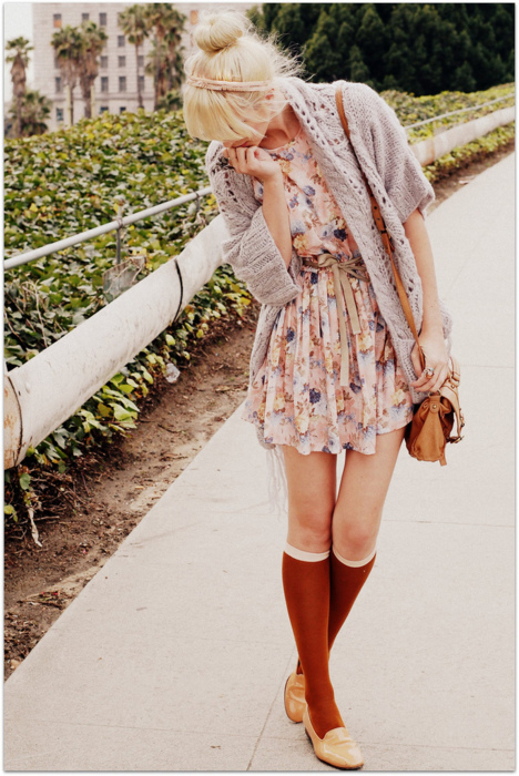 blond, clothes, cute, dress, fashion, floral, girl, socks, street style, style, sweater