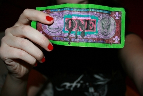 coloured, cool, dollar, grunge, hipster, indie, money, nailpolish, one dollar