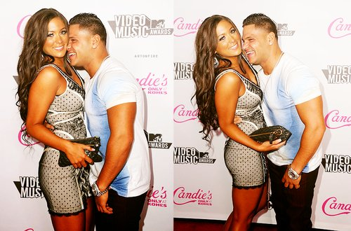 couple, cute, jersey, jersey shore, love, pink, ronald ronnie ortiz-magro, ronnie, ronnie ortiz-magro, sam and ron, samantha giancola, sammi, snooki, tanned