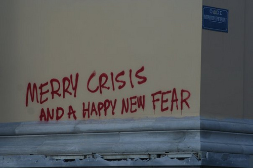 crisis, fear, grafitti, happy new fear, happy new year